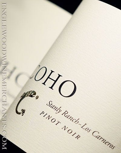 """2015 Coho, """"Stanly Ranch"""" Los Carneros Pinot Noir"""